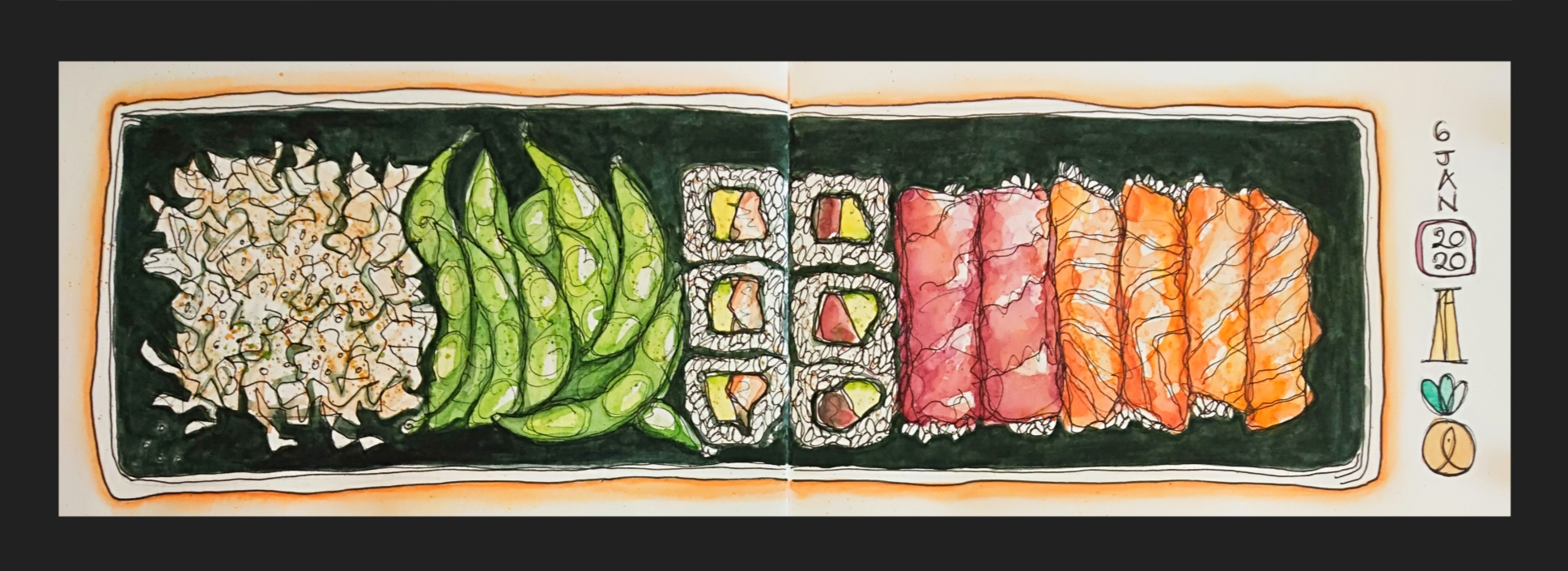 sushi, sushi shop, healthy eating, too good to go, fight food waste, watercolour, painting, sketchbook, pen and wash, food illustration, illustration, drawing