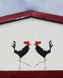 cockerel, mural, stencil
