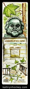 highgate cemetery, highgate, london, karl marx, grave, grave stone, pen and wash, pen and watercolour, pen and watercolour, sketch