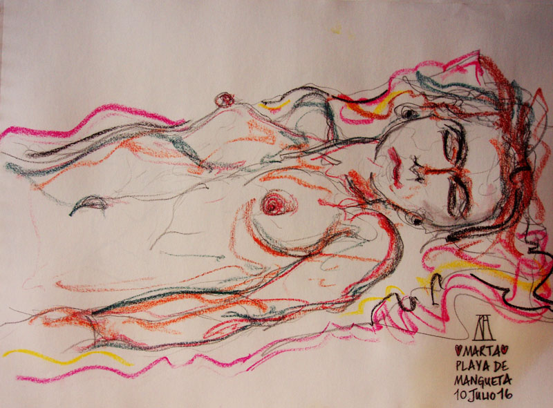 life drawing, model, sketching, beach sketches, charcoal, pastel