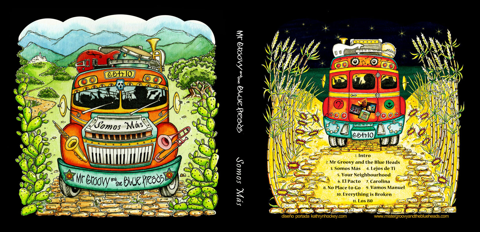 mr groovy and the blue heads, somos mas, cd cover, sketch, blues band, mister groovy, pen and water colour, pen and watercolor, watercolor paint, watercolour paint, illustration, drawing, tour bus, andalusia, blues festival