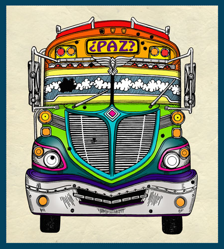 peace, bullet holes, chicken bus, illustration
