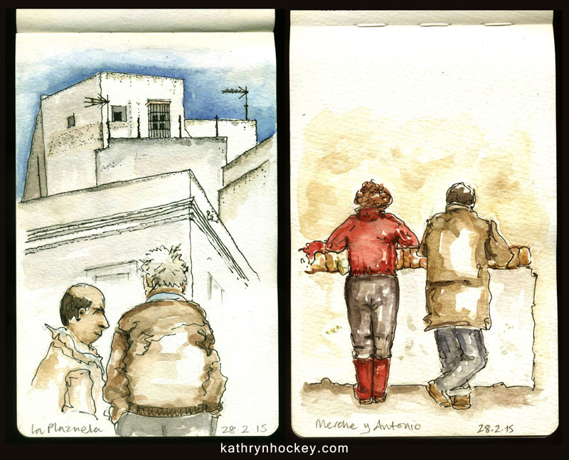 sketch, vejer sketchers, urban sketchers, drawing, pen and water colour, vejer de la frontera