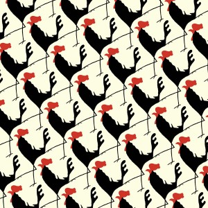 Rooster, cockerel, pattern, repeat, illustration