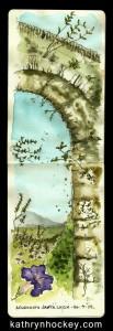 roman aquaduct,santa lucia, andalucia, vejer de la frontera, arco de la segur, pen and wash, pen and watercolour, pen and watercolour, sketch