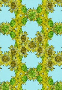 Sunflowers, digital collage, pattern