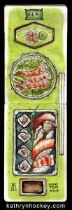 sketch, pen and watercolour, pen and watercolor, sushi, wasabi, ginger, sushi time, maki, nigiri, tuna, salmon, langoustine, soy sauce, seaweed, chop sticks