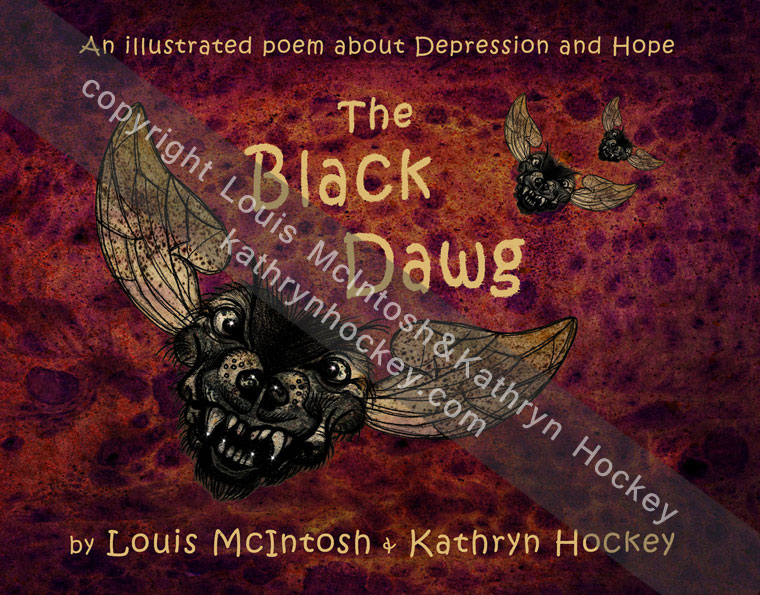 demons, poem, illustration, mental health, black dog, book cover, the black dawg, illustrated poem, depression, hope, louis mcintosh, poet, illustration, digital collage, kickstarter