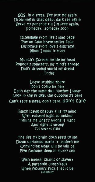 demons, poem, illustration, mental health, black dog, book cover, the black dawg, illustrated poem, depression, hope, louis mcintosh, poet, illustration, digital collage, piranha, the black dawg, kickstarter