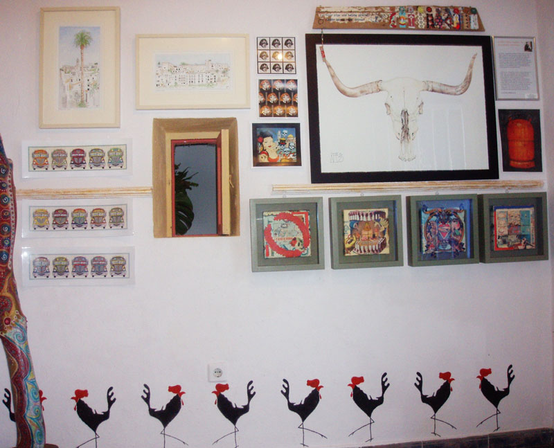 vejer, art, gallery, shared, exhibition, space, inspira, kathryn hockey, artist, illustrator, collage, prints, limited edition, chicken bus, cow skull, cockerel, stencil, drawing, watercolours, illustrations, gas bottle