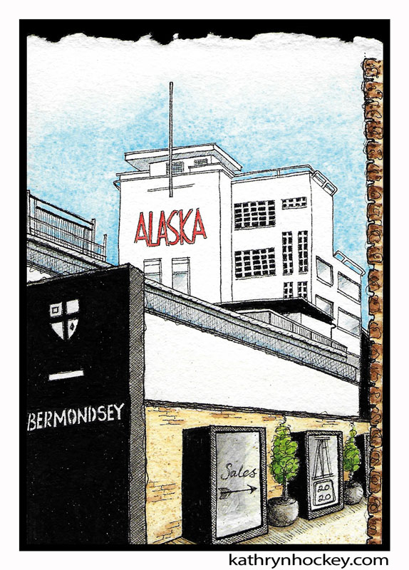 illustration, brooklyn art library, the sketchbook project, sketchbook, pen and wash, watercolour, watercolor, painting, drawing, urban landscape, urban sketching, corona virus lockdown 2020, bermondsey, alaska factory, art deco architecture, london, se16, grange road