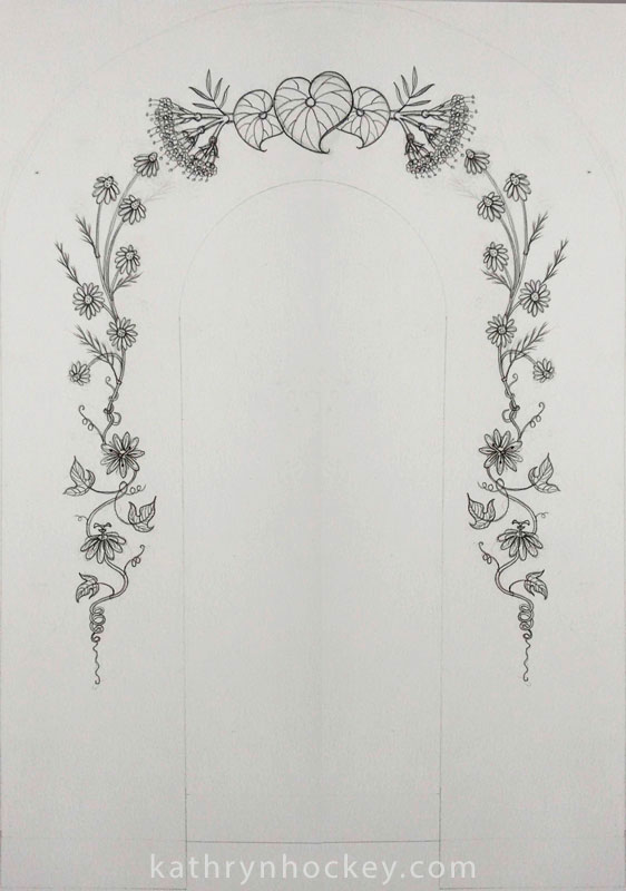 arch, mural, drawing, plants, flowers, illustration, valerian, chamomile, passion flower, kava, herbalism, natural remedies, calm, tranquillising, tranqullizing, stress relief, botanical, pharmacy, sketchbook