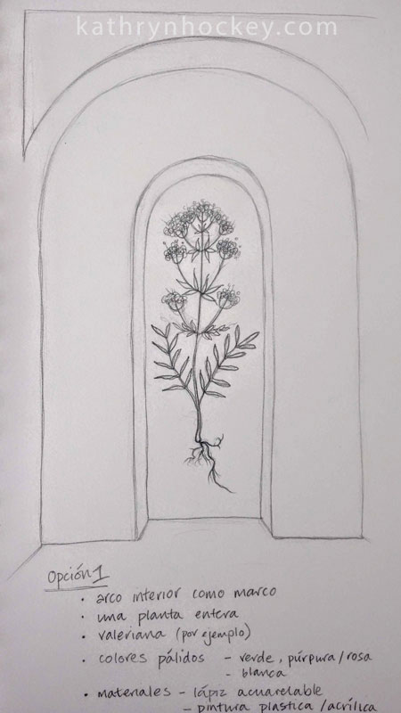 arch, mural, drawing, plants, flowers, illustration, valerian, herbalism, natural remedies, calm, tranquillising, tranqullizing, stress relief, botanical, pharmacy, sketchbook