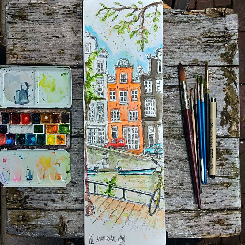 amsterdam, canal, townhouse, bicycle, netherlands, holland, watercolour, watercolor, painting, sketch, sketchbook, art, drawing, urban sketchers, boat