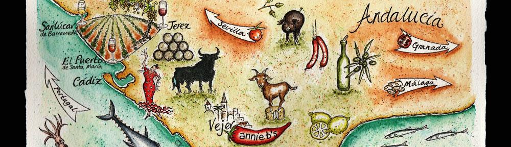 pen, watercolour, water color, drawing, painting, illustration, food, map, andalucia, andalusia, annie b, spanish kitchen, vejer, cadiz, jerez, sherry, cerdo iberico, queso de cabra, goats cheese, iberian pork, retinto, beef, tuna, atun, octopus, pulpo, flamenco, squid, calamari, lemon, limon, anchovies, anchoas, prawns, gambas, atlantic ocean, oceano atlantico, mediterranean sea, mar mediterraneo, solera, spices, vineyard, bodega, chorizo, olive oil, acete de oliva