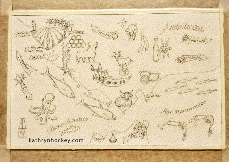 pencil, outline, illustration, food, map, andalucia, andalusia, annie b, spanish kitchen, vejer, cadiz, jerez, sherry, cerdo iberico, queso de cabra, goats cheese, iberian pork, retinto, beef, tuna, atun, octopus, pulpo, flamenco, squid, calamari, lemon, limon, anchovies, anchoas, prawns, gambas, atlantic ocean, oceano atlantico, mediterranean sea, mar mediterraneo, solera, spices, vineyard, bodega, chorizo, olive oil, acete de oliva