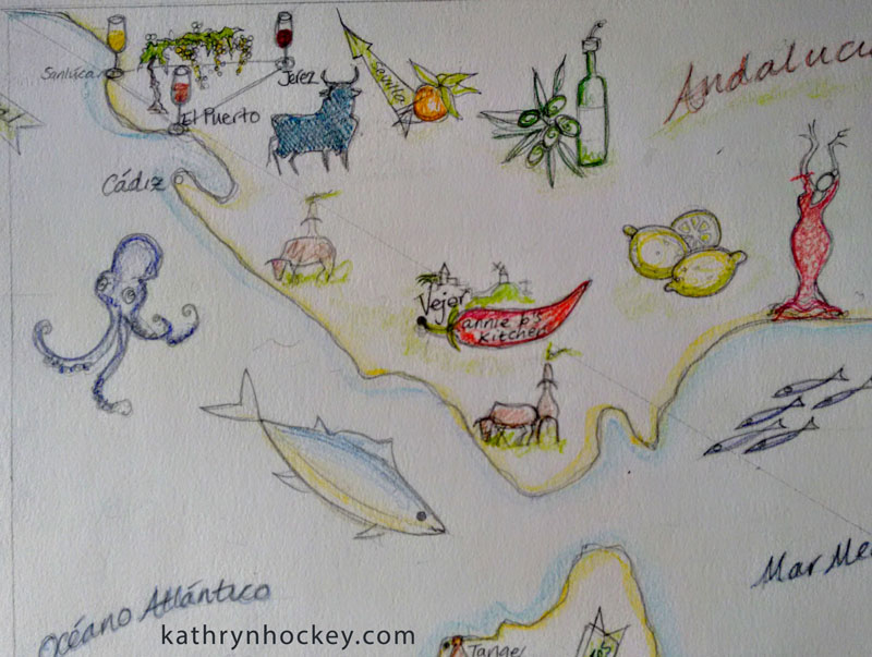 sketch, layout, illustration, food, map, andalucia, andalusia, annie b, spanish kitchen, vejer, cadiz, jerez, sherry, cerdo iberico, queso de cabra, goats cheese, iberian pork, retinto, beef, tuna, atun, octopus, pulpo, flamenco, squid, calamari, lemon, limon, anchovies, anchoas, prawns, gambas, atlantic ocean, oceano atlantico, mediterranean sea, mar mediterraneo, solera, spices, vineyard, bodega, chorizo, olive oil, acete de oliva