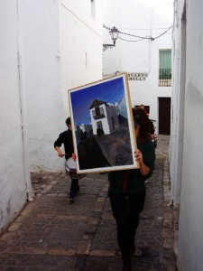 exhibition, hotel convento san francisco, mobile exhibition, vejer, arte vejer, art, community art group, art promotion, visual arts, drummers, parade