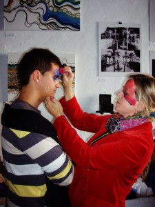 face painting, mobile exhibition, vejer, arte vejer, art, community art group, art promotion, visual arts