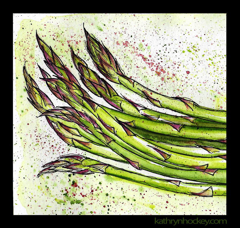asparagus, esparrago, spring, vegetables, pen and watercolour, watercolour, water color, acuarela, sketch, food, illustration