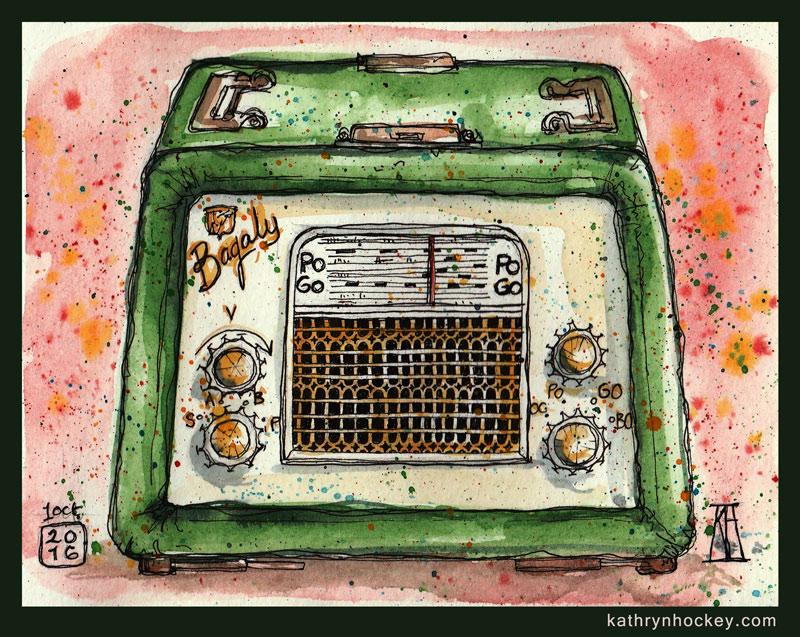 bagaly, antique, retro, vintage, radio, pen and wash, pen and watercolour, watercolour, watercolor, sketch, inktober, sketchbook