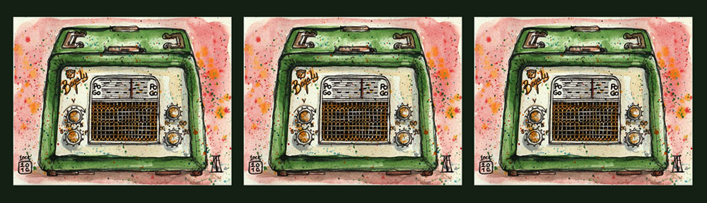 bagaly, antique, retro, vintage, radio, pen and wash, pen and watercolour, watercolour, watercolor, sketch, inktober, sketchbook
