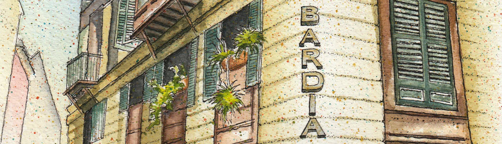 bar dia, palma de mallorca, pen and watercolour, watercolour, water color, acuarela, sketch, illustration, wedding gift, love story, meeting place