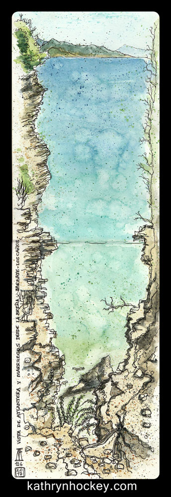 barbate, atlantera, atlantic, ocean, andalusia, cliff, sea, landscape, la brena, national park, morocco, marruecos, blue, pen and watercolour, watercolour, water color, acuarela, sketch, travel, illustration