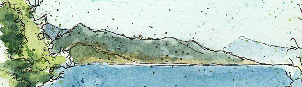 barbate, atlantera, atlantic, ocean, andalusia, cliff, sea, landscape, la brena, national park, morocco, marruecos, blue, pen and watercolour, watercolour, water color, acuarela, sketch, travel, illustration