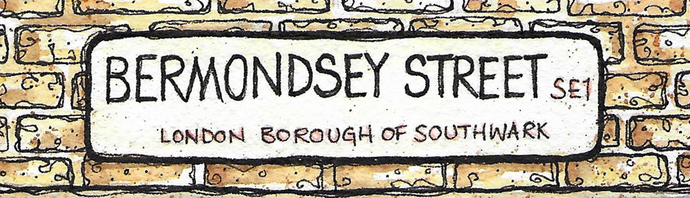 street sign, illustration, brooklyn art library, the sketchbook project, sketchbook, pen and wash, watercolour, watercolor, painting, drawing, urban landscape, urban sketching, corona virus lockdown 2020, bermondsey, london, se1, southwark