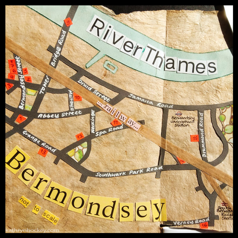 illustration, brooklyn art library, the sketchbook project, sketchbook, urban landscape, urban sketching, corona virus lockdown 2020, bermondsey, london, map, collage, paper, craft, paper cutting, River Thames, street map, Bermondsey Street, The Blue Bermondsey