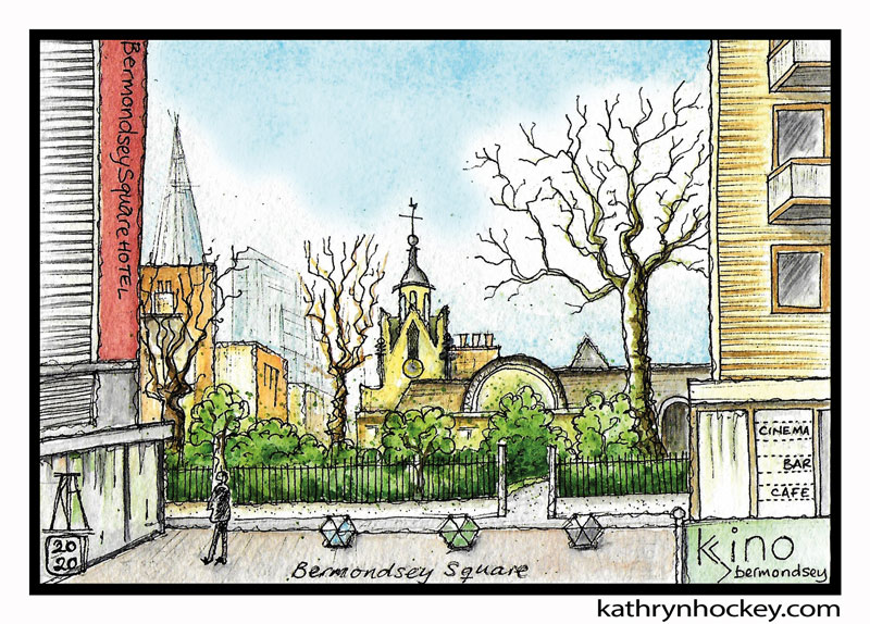 illustration,, brooklyn art library, the sketchbook project, sketchbook, pen and wash, watercolour, watercolor, painting, drawing, urban landscape, urban sketching, corona virus lockdown 2020, bermondsey, london, se1, se16, bermondsey square, shard london, st mary magdalen church, kino cinema, bermondsey square hotel, abbey street