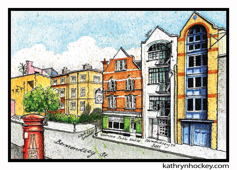 illustration, brooklyn art library, the sketchbook project, sketchbook, pen and wash, watercolour, watercolor, painting, drawing, urban landscape, urban sketching, corona virus lockdown 2020, bermondsey, london, se1, warehouse conversions, london pub, bermondsey street, garrison public house, bermondsey bees, fashion and textile museum, ftm, facades, windows, pub sign, warehouse