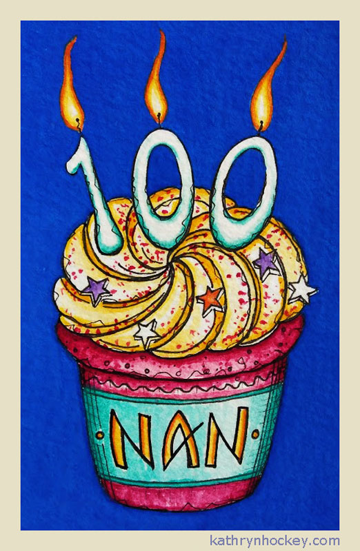 bespoke, birthday card, centenary, 100, birthday, cake, cup cake, candles, nan, godmother, gift, pen and wash, watercolour, painting, drawing