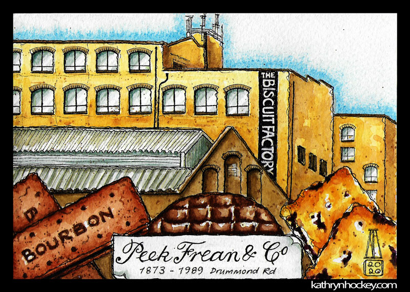 illustration,, brooklyn art library, the sketchbook project, sketchbook, pen and wash, watercolour, watercolor, painting, drawing, urban landscape, urban sketching, corona virus lockdown 2020, bermondsey, london, se16, south bermondsey, peek freans, biscuit factory, biscuits, bourbon, chocolate digestive, garibaldi
