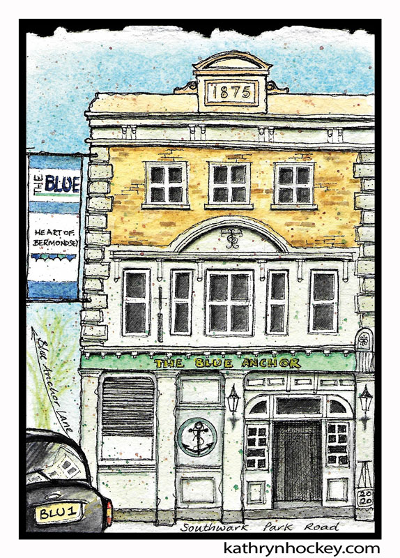 illustration, brooklyn art library, the sketchbook project, sketchbook, pen and wash, watercolour, watercolor, painting, drawing, urban landscape, urban sketching, corona virus lockdown 2020, bermondsey, london, se1, se16,, blue anchor, london pub, blue anchor lane, london taxi, black cab,blue bermondsey, independent trader, southwark