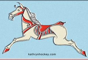 horse, carousel, fair ground, roundabout, pencil drawing, digital colour, illustration