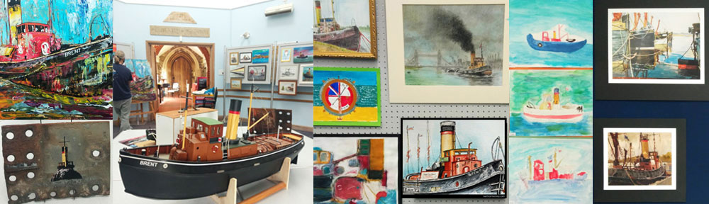 brent, steam tug, boat, maldon, essex, pen and wash, watercolour, painting, drawing, sketch, exhibition