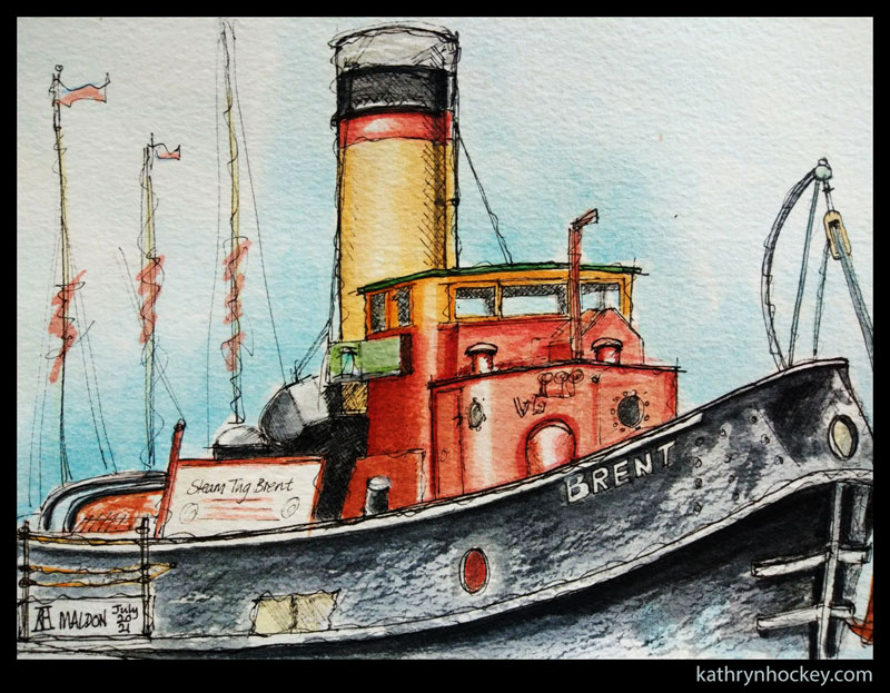 brent, steam tug, boat, maldon, essex, pen and wash, watercolour, painting, drawing, sketch