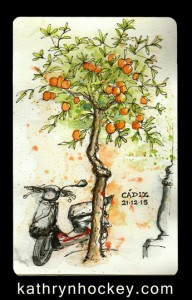 cadiz, oranges, orange tree, andalusia, moped, vespa, drawing, water colour, sketch, pen and watercolour