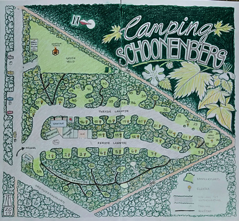 draft, preparatory drawing, handpainted sign, signwriting, map, map making, campground, forest, woodland, camping schoonenberg, driehuis, north holland, holland, acrylic paint, wood, illustration, leaves, brambles, sign, painting, art
