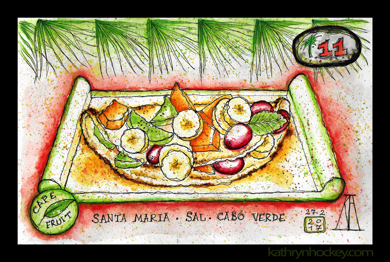 cape fruit, santa maria, sal, cape verde, cabo verde, breakfast, brunch, lunch, smoothies, natural bar, fresh fruit, healthy eating, pancake, banana, grape, papaya, kiwi fruit, honey, water color. pen and watercolour, sketch, food, illustration, vegan