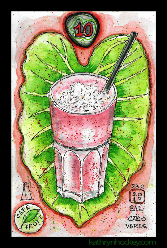 cape fruit, santa maria, sal, cape verde, cabo verde, breakfast, brunch, lunch, smoothies, natural bar, fresh fruit, healthy eating, smoothie, banana, strawberry, coconut, pen and watercolour, sketch, food, illustration, vegan
