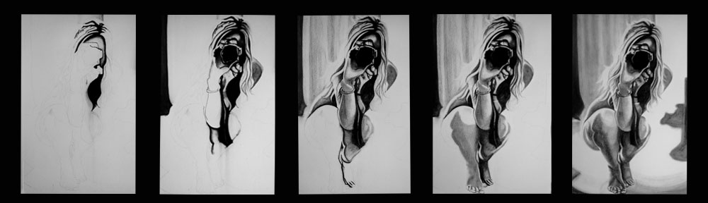 charcoal, portrait, nude, woman, photographer, drawing