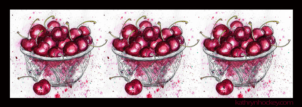 fruit, food, drawing, water colour, sketch, pen and watercolour, juicy, cherries, cherry