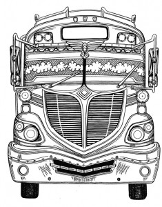 chicken bus, pencil drawing