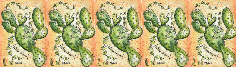 chumbera, prickly pear, cactus, cadiz, vejer, vejer de la frontera, andalusia, andalucia, pen and watercolour, watercolour, water color, acuarela, sketch, sketchbook, illustration