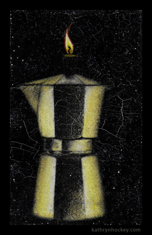 coffee pot, coffee, candle, flame, illustration, drawing, charcoal, painting, acrylic, crackle glaze, craquellure, cracks, glitter