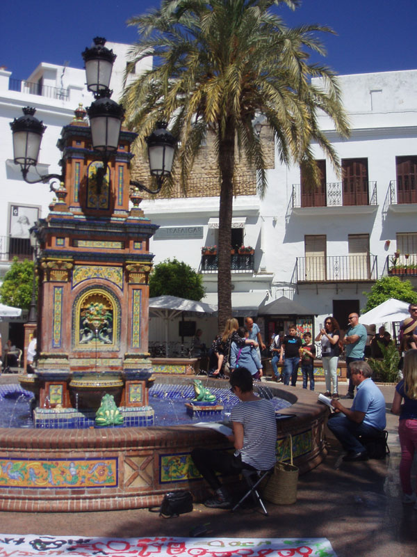 concentrarte, vejer, art, plaza de espana, painting, fountain, watercolour, sketch, vejer sketchers, arte vejer