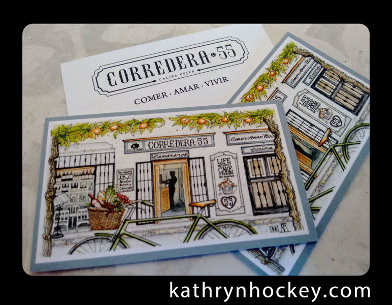business card, corredera 55, restaurant, califa vejer, vejer de la frontera, andalusia, pen and watercolour, pen and wash, pen and watercolor, sketch, drawing, painting, facade, comer amar vivir, life without cake, vitamins abc